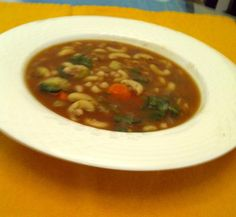 Hearty Vegan Navy Bean Soup from Food.com:   								This is an excellent vegan recipe, its very hearty and flavorful. Don't write off this recipe for lack of meat, its really fab.