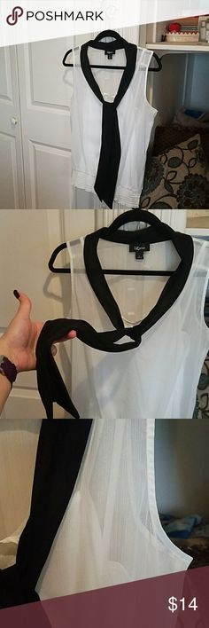 Sheer Black & White Top (worn 2x) This has bern worn 2x but it simply doesn't fit my bust anymore. It is a very pearl-like white and has a built in tank top. The built in scarf/tie thing can be worn in many ways. The bottom of the blouse is stretchy. Beautiful blouse overall. Iz Byer Tops Blouses