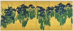 Ширма «Ирисы» Огаты Корина, 1710-е годыСекрет величия главных произведений японского искусства | Arzamas