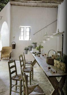 Rustic dining room.