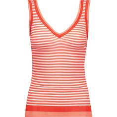Missoni - Striped Crochet-knit Tank ($226) ❤ liked on Polyvore featuring tops, tomato red, crochet tank, red striped top, red striped tank, red top and red tank