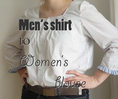 Men's shirt to women's blouse refashion by Eddie's Room, roued.com
