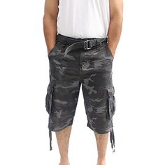 LA GATE Belted Cargo Short Pant - up to size 50 Big and Tall