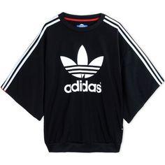 Adidas Originals By Rita Ora Sweatshirt (€79) ❤ liked on Polyvore featuring tops, hoodies, sweatshirts, adidas, black, logo top, adidas originals sweatshirt, short sleeve sweatshirt, short sleeve tops and print sweatshirt