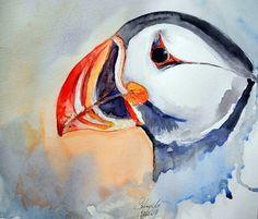 Puffin - Papageientaucher   Aquarell von Sylvia.M.Lang