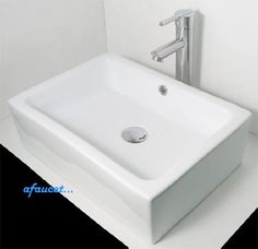 20 Inch Rectangular White / Black Porcelain Ceramic Bathroom Vessel Sink TCS Home Supplies http://www.amazon.com/dp/B007NFPYO2/ref=cm_sw_r_pi_dp_6aZlub1XXTDJ8