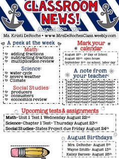 Classroom Newsletter Nautical Completely EDITABLE! Great for all subject areas and grade levels! Perfect to keep your parents and student informed!