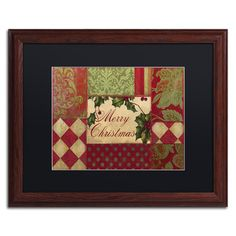 "Trademark Art 'Merry Christmas Patchwork I' Framed Graphic Art Mat Color: Black, Size: 16"" H x 20"" W x 0.5"" D"