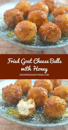 Fried goat cheese balls with honey are this season's appetizer of choice. A delightful combination of sweet, creamy and crunchy, they're sure to be a party favorite! #ad #PostfortheHolidays