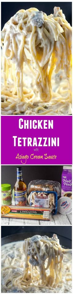 This Chicken Tetrazzini, with chicken (or turkey) in an asiago cream sauce with pasta, makes a delicious casserole, and is a great way to use up leftover chicken or turkey after a holiday. via (Chicken Tetrazzini) Full Chicken Recipes, Leftover Chicken Recipes, Turkey Recipes, Entree Recipes, Cooking Recipes, Pasta Recipes, Healthy Recipes, Tetrazzini, Food Dishes