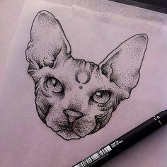 Angel Devil Tattoo, Creepy Art, Sphinx Cat, Sphynx, Cat Design, Cat Tattoo, Tatting, Cool Art, Tattoo Designs