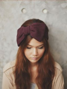BIG BOW headband  Dark Plum by Rumraisina on Etsy, $12.95