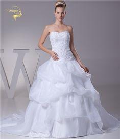 Jeanne Love New Arrival Wedding Dresses 2017 Organza A Line Applique Lace Beading Robe De Mariage Vestido De Novia JLOV75930