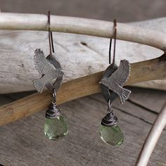 Silver bird earrings with green amethyst nature by Naryajewelry