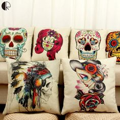 This Item at Lowest Price HERE:https://www.rousetheroom.com/products/mexican-sugar-skull-accent-pillow-cushion-cover-halloween-inspired-home-decor Sugar Skull Home Decor