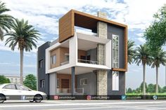 Panash Design Studio - Take a look of our best design list of Commercial Elevation Projects. Best Modern House Design, Modern Exterior House Designs, Classic House Design, Exterior Design, 2 Storey House Design, Duplex House Design, House Front Design, House Design Photos, Village House Design