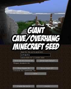 Check out the giant cave/overhang in this Minecraft PC/Mac seed. Seed: extraextra