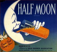 Redlands Half Moon Crescent Moon Orange Citrus Crate Label Art Print