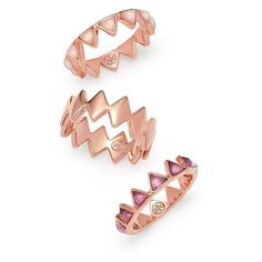 Tory Burch Puzzle Metal & Stone Ring Set ($195) ❤ liked on Polyvore featuring jewelry, rings, stone jewelry, stone rings, triple ring, band rings and set rings