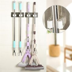 Kitchen Tool Home Shelf Wall Mounted Mop Organizer Holder Brush Broom Hanger Storage Rack Housekeeper Accessory Hanging Hooks Broom Hanger, Hanger Rack, Mops And Brooms, Cleaning Walls, Laundry Room Organization, Organization Ideas, Home Tools, Pvc, Stores