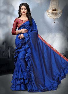Latest designs ruffle sarees available on our online store in wide range at wholesale price.buy online ruffle sarees at best price. Best Designer Sarees, Designer Sarees Online Shopping, Plain Saree, Saree Blouse Designs, Sari, Vogue, Blue Art, Catalog, How To Wear