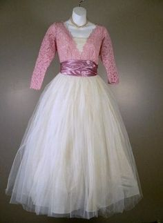 vintage 50's tulle pink lace top tea length wedding dress $65