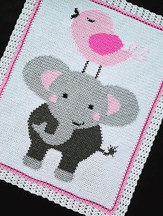 Crochet-Patterns-ELEPHANT-and-BIRD-Afghan-Pattern