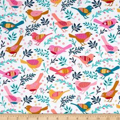 Michael Miller Happy Birds Happy Bird Multi from @fabricdotcom  From Michael Miller, this cotton print fabric features colorful birds and is perfect for quilting, apparel and home decor accents. Colors include white, mustard, gold and shades of pink and blue.
