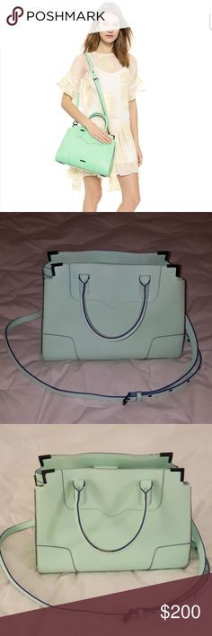 Rebecca Minkoff Amourous Satchel Mint green Black hardware Used- fair condition- worn handles, scuffed edges and feet Rebecca Minkoff Bags Satchels