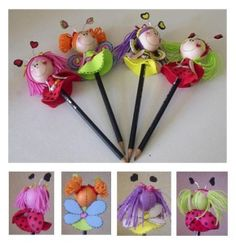 fofulapices Crafts To Sell, Diy And Crafts, Crafts For Kids, Arts And Crafts, Fairy Clothes, Pencil Toppers, Fairy Jewelry, Fimo Clay, Felt Ball