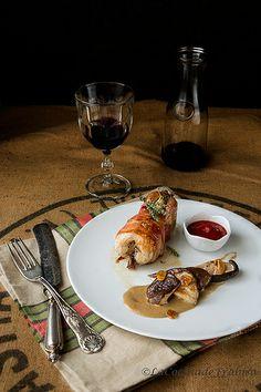 Codornices horneadas con Bacon y Setas Shiitake