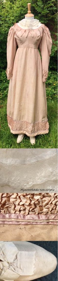 A romantic outfit. 1815-25 ruff of muslin, bobbin lace and linen. c1825 gown of pink silk (and wool mix?) with ornate trims. 1820s cream canvas shoes with silk bow.