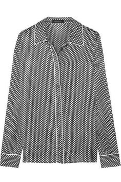 Kate Moss for Equipment - Shiloh Printed Washed-silk Pajama Shirt - Black - medium