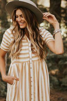 Café Stripe Dress in Carmel | ROOLEE