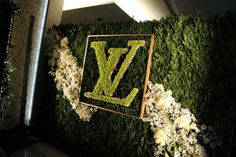 monogram behind bar or bridal table with chinese last name - use wedding color flowers, moss, etc