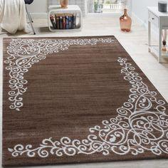 Designer Teppich Mit Floral Glitzergarn Muster Beige Weiß Braun Meliert