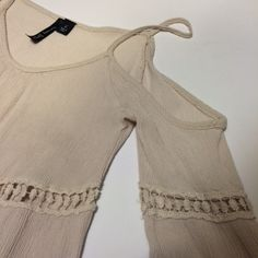 BOHO Top Cream BOHO top size large but fits like a medium it has straps like a tank top but has 3/4 sleeves Tops Tees - Long Sleeve