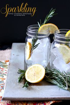 Sparkling Honey Rosemary Lemonade - Nutmeg Nanny