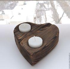 Купить Романтика - деревянный подсвечник - коричневый, дерево, декор для интерьера, Декор, свеча, подсвечник