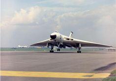 Avro Vulcan. A Pre-ECM B Mk.1 in anti-flash white scheme taking off.