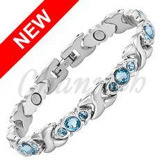 Find More Chain & Link Bracelets Information about 2016 Women Blue… Crystal Bracelets, Link Bracelets, Silver Bracelets, Bangle Bracelets, Bangles, Jewelry Gifts, Jewelry Accessories, Women Jewelry, Ladies Jewelry