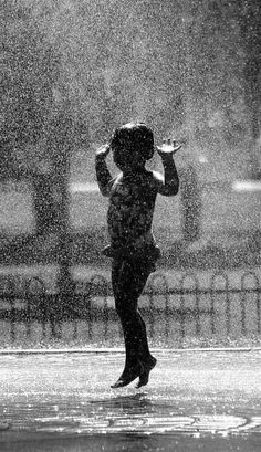 dance in the rain - what a beautiful feeling. Even as an adult - I just want to go outside and dance in the rain! I Love Rain, Singing In The Rain, Jolie Photo, Getting Wet, Rain Drops, Rainy Days, Rainy Night, Black And White Photography, Images