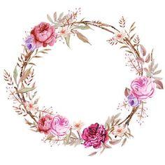 Frames floral em png para baixar clique na imagem para ampliar só depois salve Frame Floral, Flower Frame, Flower Crown, Art Floral, Watercolor Logo, Watercolor Flowers, Logo Fleur, Borders And Frames, Floral Border