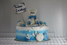 Торт без мастики с медведем и пряником голубой детский