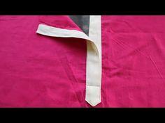 how to make perfect placket easy way चपड़ास पट्टी लगाने का आसान तरीका Salwar Suit Neck Designs, Kurta Neck Design, Chudi Neck Designs, Dress Neck Designs, Baby Clothes Patterns, Dress Sewing Patterns, Sewing Collars, Sewing Sleeves, Collar Tips