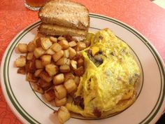 Omelet from Tin Goose Diner at the Liberty Aviation Museum in Port Clinton, Ohio. 1950s Diner, Lake Erie, Omelet, Ohio, Liberty, Aviation, Museum, Breakfast, Food