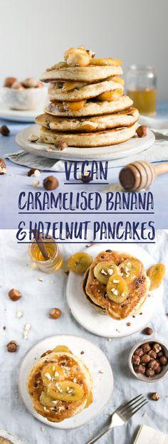 Super soft and fluffy hazelnut pancakes with caramelised bananas #vegan #pancakes #dairyfree   via @annabanana.co