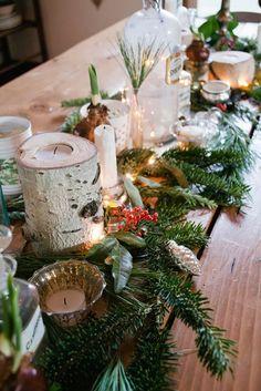 Beautiful birch & evergreen centerpiece Photo source: Vintage Whites #winterwedding #birch #evergreen