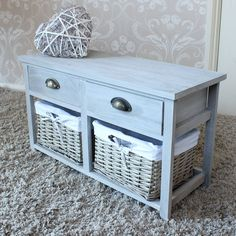 Vintage Grey Range - Two Drawer with Wicker Baskets Storage Bench