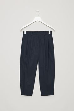 Front image of Cos dense cotton trousers in blue 5b698d188140b